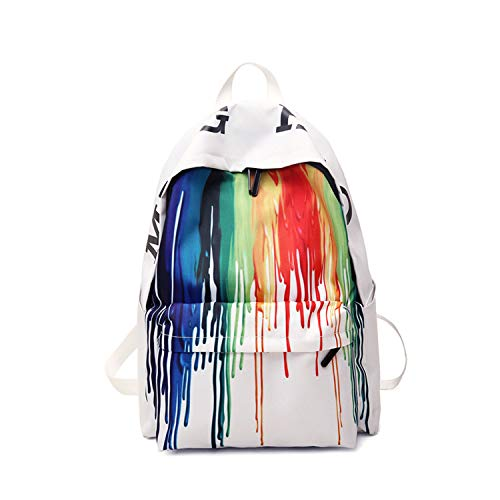 FANDARE New Backpacks Casual Graffiti Daypack High College School Bag Teens Girl Boy Knapsack Outdoor Travel Laptop Rucksack Bookbag for Women Men Waterproof Polyester White