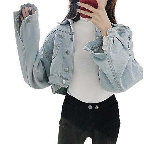 Abrigos Moda Mujer Elegante Primavera Y Otoño Coreano Manga Mode De Marca Larga Mujer Slim Print Jacket Short Denim Jacket Ms. (Color : Azul Claro, Size : M)