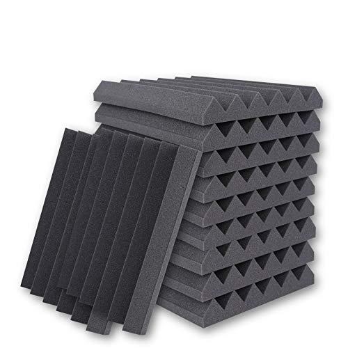 BUBOS Sound Proof Foam Panels, Acoustic Foam Panel Studio Foam Pyramid Tiles Sound Absorbing Dampening Foam Panels Wall Soundproofing Treatment,12'' x 12''x 2'' (12-Pack,)