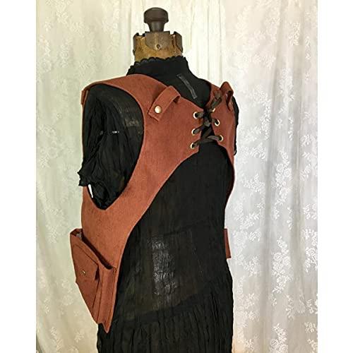 WFTD Cartable Médiévale sous Les Bras, Sac étui en Cuir Steampunk, Portefeuille De Téléphone Rétro Harnais D'épaule Double Poche Gilet Festival Viking Pirate Costume pour Hommes Et Femmes