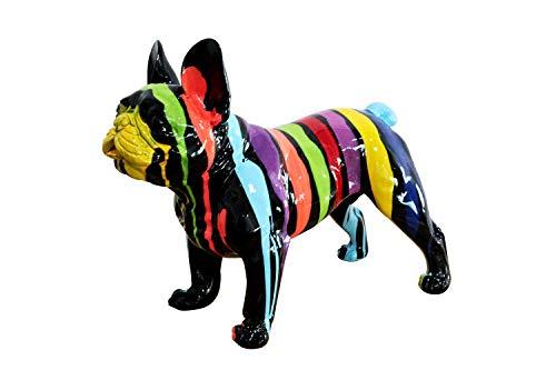 Meubletmoi Sculpture Chien Bulldog Noir et Multicolore en résine - Statue décorative Design Contemporain Pop Art...