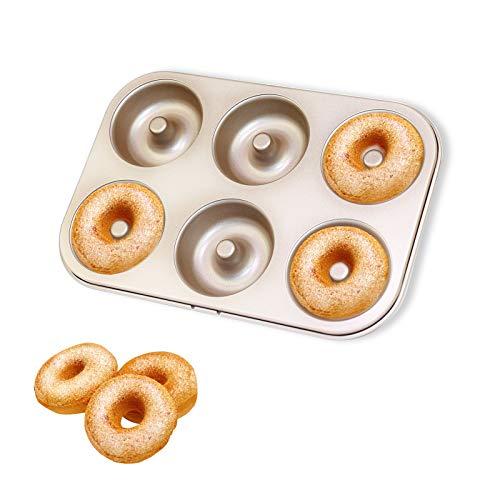 Molde para Donuts y Rosquillas Donuts Modelo para Donas de Acero al Carbono Antiadherentes para Galletas Tarta Muffin Pan Cupcakes Pie 6 Cavidades