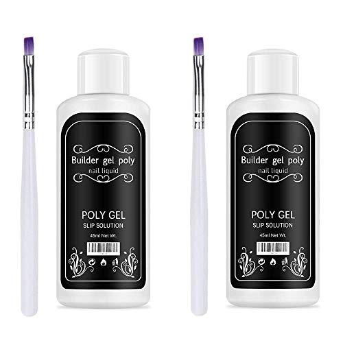 Freeorr 2 Stück Gel-Lösung für Nagelverlängerungen, Quick Poly Gel Slip-Lösung, Nagelverlängerungs-Gel-Flüssiglösung für Nail Art DIY Nagel, Enthält 2 Pinsel-45ml