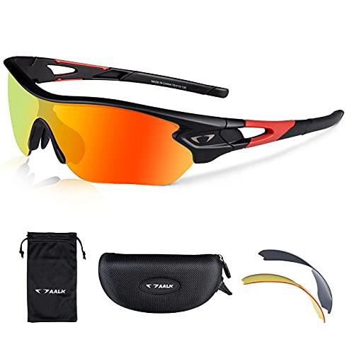 AALK Polarisierte Sport-Sonnenbrille, UV400-Schutz, TR90-Rahmen, Fahrradbrille mit 3 austauschbaren Gläsern für Männer und Frauen, Rennrad, MTB, Brille, Baseball, Laufen, Angeln, Golf, Schwarz
