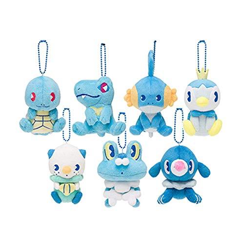7style Pokemoned Tipo de Agua Squirtle Popplio Pelush Toy Toy 10cm, Mudkip Oshawott Piplup Totodile Froakie Peluche para niños Laimi