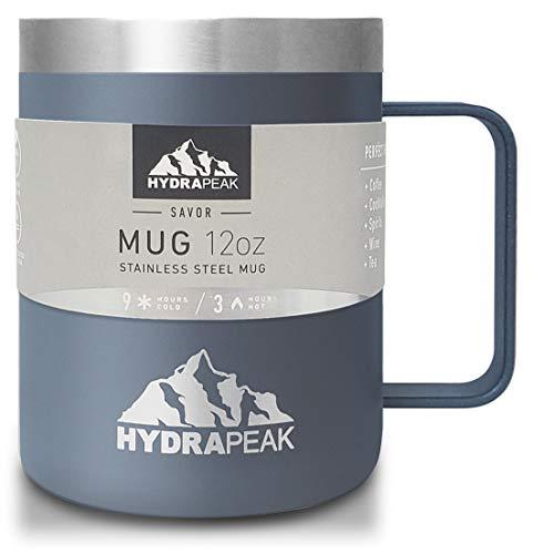 Hydrapeak - Taza de café de acero inoxidable doble aislada al aspiradora, reutilizable, con asa integrada y tapa a presión (12 onzas, Storm)