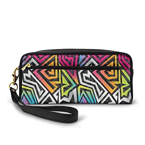 Federmäppchen Teenager Mädchen Groß,Rainbow Colored Labyrinth Bold Lines Shaded Colorful Maze Inspired Pattern,Federmäppchen für Schule und Büro