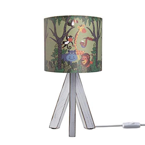 Paco Home LED Luminaria Infantil Cuarto Infantil Luminaria Mesa Mesilla Animal Selva E14, Base de la lámpara:Lámpara de mesa blanca, Pantalla de lámpara:Verde (Ø18 cm)
