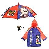 Disney Boys' Little Mickey Mouse Slicker and Umbrella Rainwear Set, Blue, Age 2-3