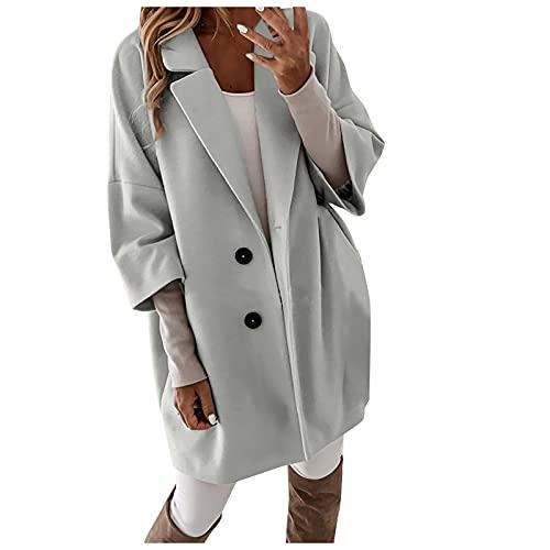 Abrigo de solapa con muescas para mujer de una sola mezcla de botonadura Blazer Slim Outwear Chaqueta de invierno, gris, S