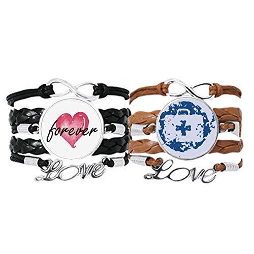 Bestchong Kit de primeros auxilios diseño redondo ilustración patrón pulsera correa de mano cuerda de cuero siempre amor pulsera doble conjunto