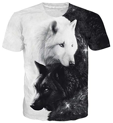 ALISISTER Unisex Neuheit T-Shirt 3D Personalisierte Wolf Muster Kurzarm Tshirts Sommer Casual Strand Party Tee Shirts XXL