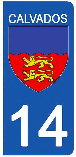 DECO-IDEES 2 Stickers pour Plaque d'immatriculation - 14 - Blason Calvados- Stickers Garanti 5 Ans