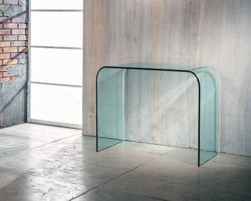 IMAGO FACTORY Bohemian | Consola de entrada – Puente de cristal curvado, mueble de salón moderno, consola salón de cristal, mueble de entrada, mueble de entrada, diseño moderno