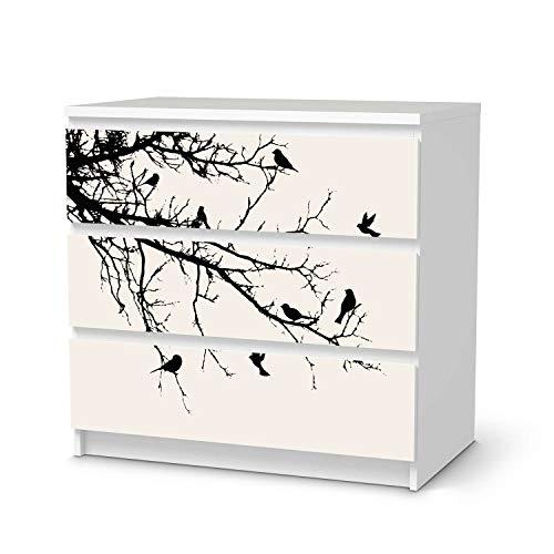 creatisto Möbeltattoo passend für IKEA Malm Kommode 3 Schubladen I Möbeldekoration - Möbel-Aufkleber Folie Tattoo I Deko DIY für Schlafzimmer, Wohnzimmer - Design: Tree and Birds 1