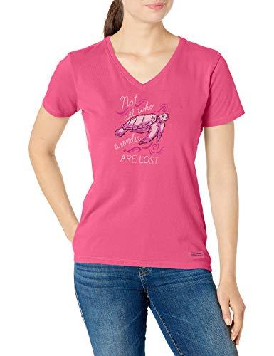 Life is Good Womens Crusher Vee Wander Turtle, Fiesta Pink, Medium