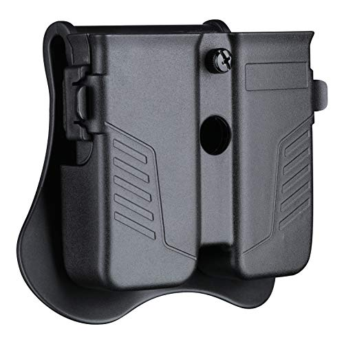 Double Magazine Pouch Fit 9mm .40 .45 Caliber Dual & Single Stack Magazines - Universal Mag Holder   Polymer Paddle Holster   Adjustable Size & Cant   Ambidextrous   Outside Waistband   Black