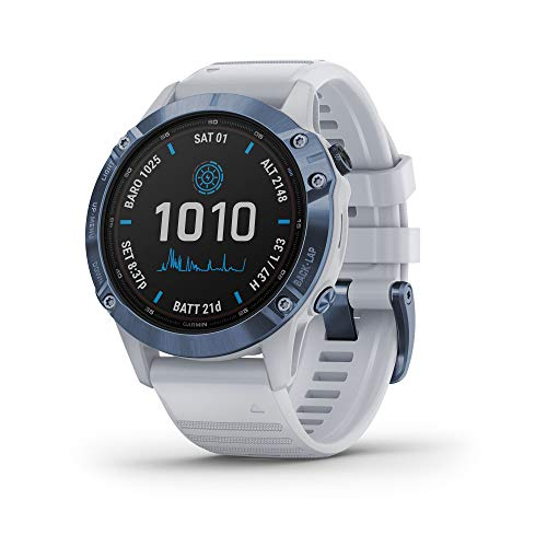 Garmin fenix 6 Pro Solar, Multisport GPS Watch with Solar Charging Capabilities, Advanced Training Features and Data, Mineral Blue with White Band
