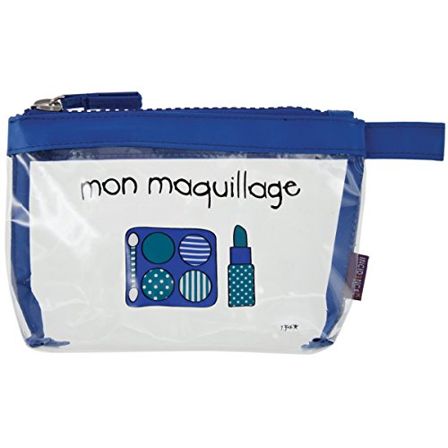 Incidence Paris 61832 Trousse à maquillage Krystal Mon maquillage Transparent et bleu PVC et nylon Fermeture zip, 19 cm, Transparent