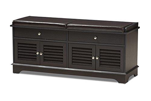 Baxton Studio Laertes Modern and Contemporary Dark Brown Wood 2-Drawer Shoe Storage Bench