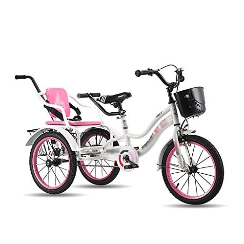 T-Day Triciclo per Adulti 16in Childrens Cruise Bycles By-Seater Boys Girls Bikes A Tre Ruote con Braccioli E Manico Carrello Posteriore per 5-6 Anni(Color:Pink)