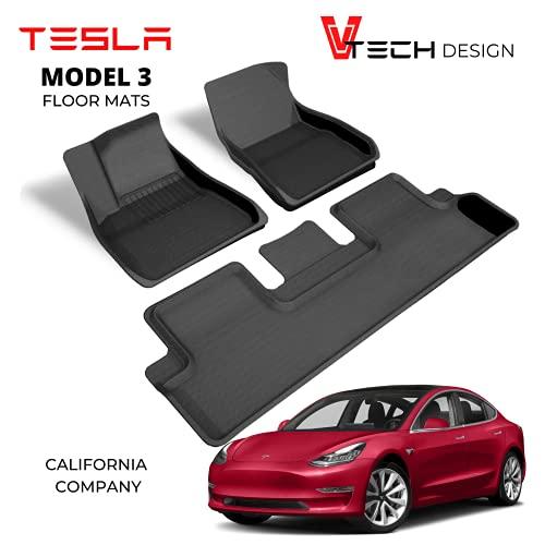 V Tech Design Tesla Model 3 Floor Mats - 2021 Refresh - Custom Fit Stylish All Weather - Premium 3D Design - Tough Light Weight Waterproof Material - Non Slip Flooring - No Logo