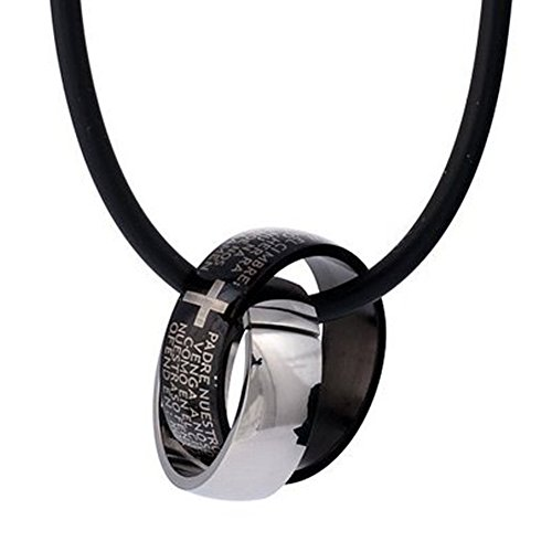 DonDon Kautschuk Halskette mit Zwei Edelstahl Ringen mit Kreuzgravur in einem schwarzen Samtbeutel