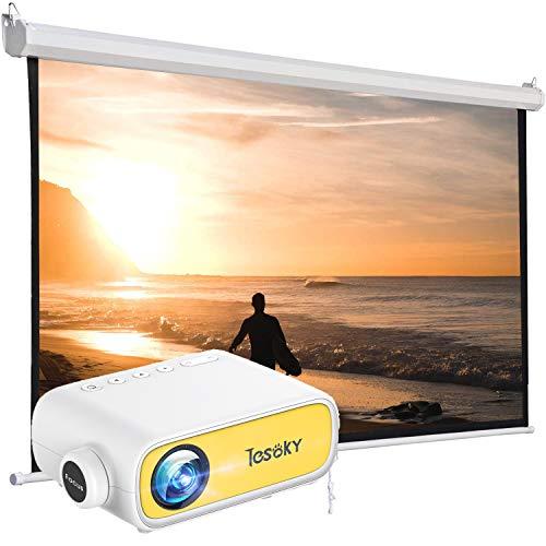 Tesoky Pantalla Proyector de 16: 9, Soporta HD, con 16 Ganchos, Pantalla Portátil Plegable para Oficina/ Cine en Casa/ Al Aire Libre