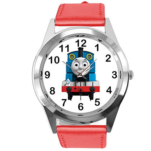TAPORT® Armbanduhr Analog Quarz mit Echtlederband rot rund für Thomas The Train Fans