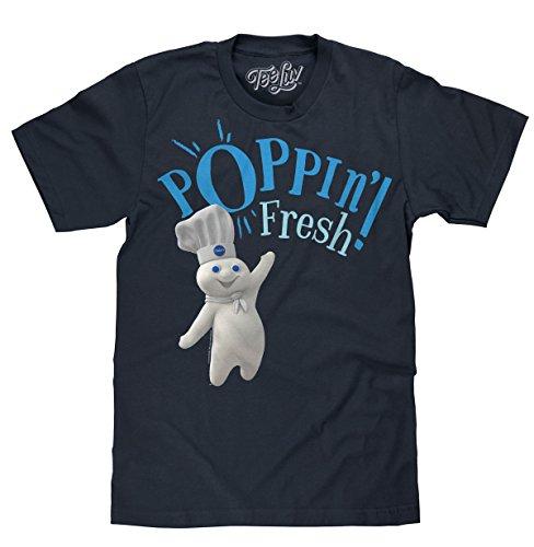 Tee Luv Pillsbury Doughboy Shirt - Poppin' Fresh Graphic Tee Shirt (Navy) (S)