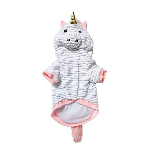 Zonfer Costumi di Halloween per Animali Divertenti Unicorn Costume con Cappuccio Cappotti Animali Tute per Gatti Cani Taglia M