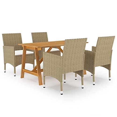vidaXL Juego de Comedor para Jardín de 5 Piezas Muebles Mobiliario Balcón Exterior Terraza Hogar Cocina Mesa Silla Asiento Suave Estable Beige