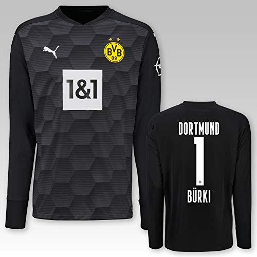 PUMA BVB Torwarttrikot schwarz Saison 2020/21, Größe:140, Spielername:1 Bürki
