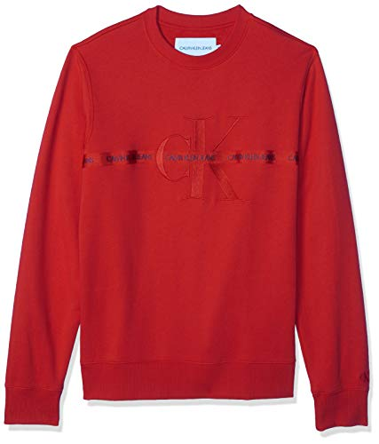 Calvin Klein Taping Through Monogram Cn Suéter, Racing Red, XL para Hombre