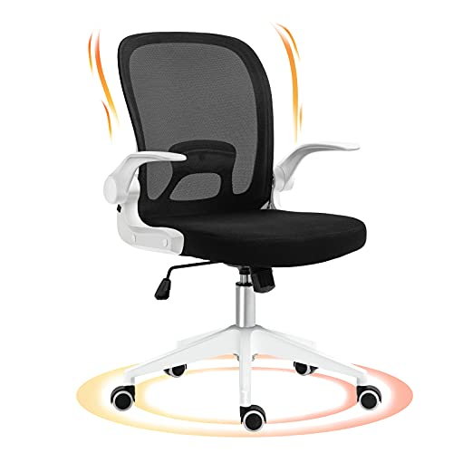 Home Office Chair, AIFFERA Ergonomic Office Chair,Swivel Office Desk Chair with Adjustable Height Armrest,Lumbar Support, Foldable Computer Chair Black-White