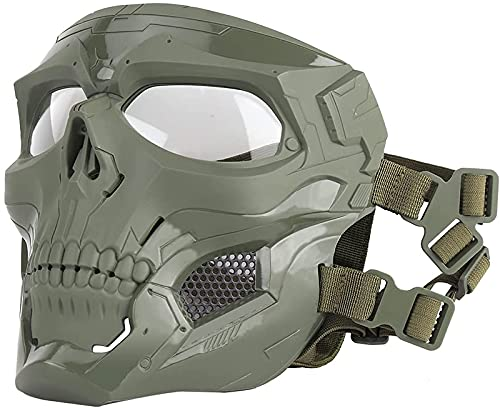 Máscara de cráneo de la pistola de aire táctico Mascarilla protectora de la cara completa transpirable Adecuado para el juego de paintball Halloween juego de rol de Halloween Party Party Tan máscara d