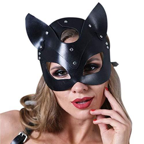 ISAKEN Damen Maskerade Kostüm Zubehör, Sexy Leder Katzenauge venezianisches Zorro-Kostüm Zubehör für Halloween Party Karneval Ball Hochzeit