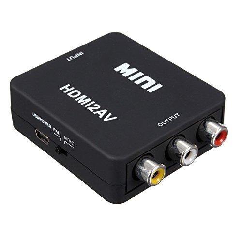 TOOGOO MINI HDMI a 3 RCA de video compuesto CVBS AV adaptador de convertidor de TV PS3 VHS DVD Negro