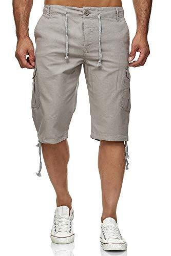 Reslad Leinen Cargo Shorts Männer Strandhose Herren Leinenhose 3/4 Hose Freizeit Kurze Hosen Sommer Bermudas RS-3001 Hellgrau 2XL