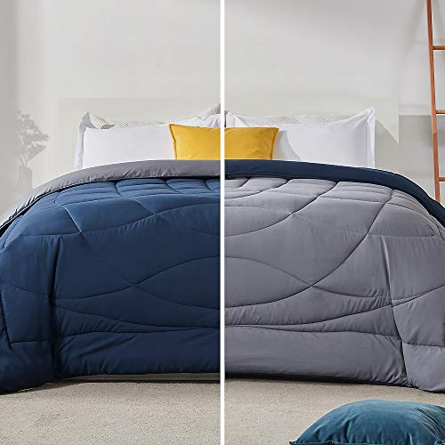 SLEEP ZONE All Season Comforter Down Alternative Soft Temperature Regulation Reversible Duvet, NavyBlue+Gray, Full/Queen
