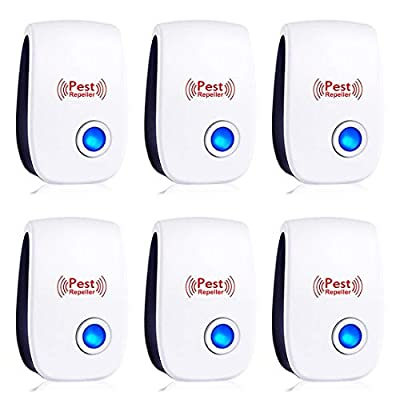 Ultrasonic Pest Repeller 6 Packs - Pest Control Ultrasonic Repellent - Electronic Insects & Rodents Repellent for Mosquito, Mouse, Cockroaches,Rats,Bug, Spider, Ant, Flies
