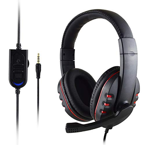 Gaming Headset with Mic for Xbox One/PS4, Over-Ear Noise Isolation Bass Gaming Headphones with Microphone, Surround Sound, Volume Control (Black+Red)