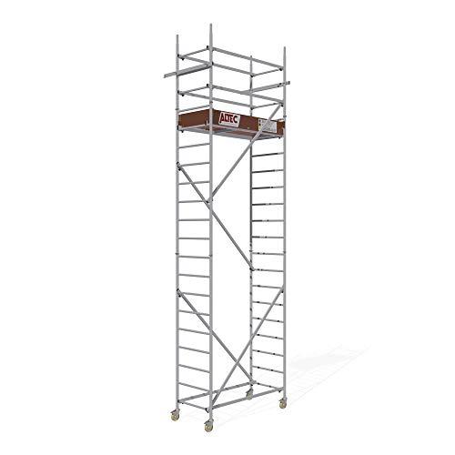 ALTEC Rollfix® 2.0 600-S | 6m Arbeitshöhe | bremsb. Lenkrollen (Ø125mm) | Wandanker | Made in Germany | TÜV&GS | belastbar 200kg/m² | Norm - EN 1004:2005 | Modulares Arbeitsgerüst | Alu-Gerüst