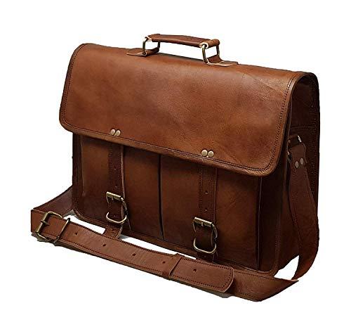 17' leather messenger bag laptop case office briefcase gift for men computer distressed shoulder bag