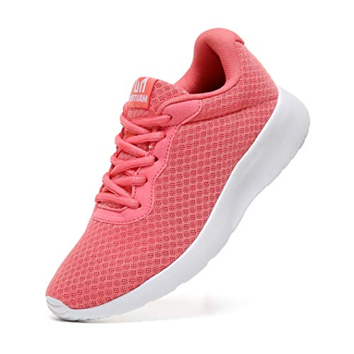 MAIITRIP Womens Gym Sneakers Casual Ladies Lightweight Fashion Walking Running Sport Workout Athletic Tennis Shoes Pink Size 7
