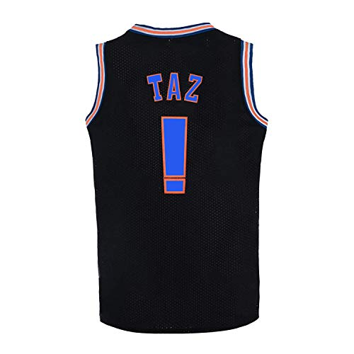 Mens Basketball Jersey TAZ Moive Space Jam Sports Shirts (Black, Medium)