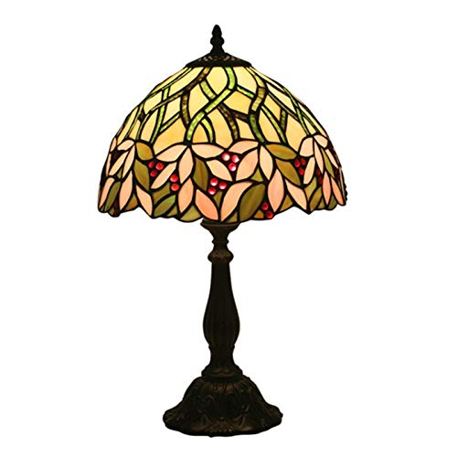 WELSUN Tiffany - Lámpara de mesa de cristal tintado, color verde, estilo glicina, luz de lectura , 12 x 19 pulgadas, para sala de estar, dormitorio, aparador antiguo, estantería