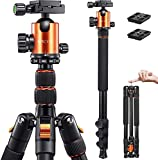 VICTIV 78 inches Camera Tripod 81 inches Monopod, Aluminum Travel Tripod for DSLR, Lightweight Tripod Loads Up to 30 lbs with 360 Degree Ball Head and Carry Bag for Travel and Work - AT26 Orange