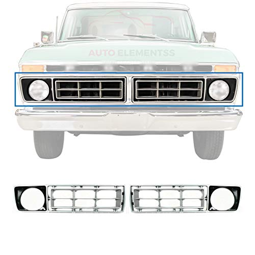 New Set of 2 Front Silver Grille with Round Headlight Holes Right Passenger &...