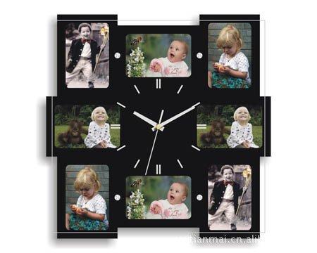 DHGY-Mode photo en bois cadre horloge Horloge couper le salon (sans batterie) 30 * 30cmCadeau de cadeau de Noël de vacances d'ami cadeau